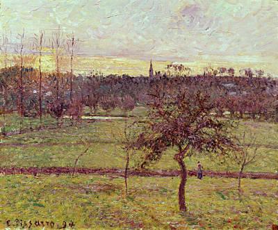 Landscape At Eragny Print by Camille Pissarro