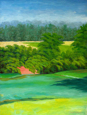 Landscape Painting - The Red Barn - Oil Original by Daniel Fishback