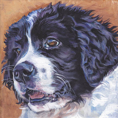 Newfoundland Puppy Painting - Landseer Newfoundland Pup by Lee Ann Shepard
