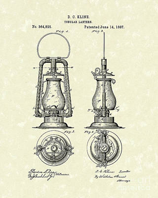 Oil Lamp Drawing - Lantern 1887 Patent Art by Prior Art Design