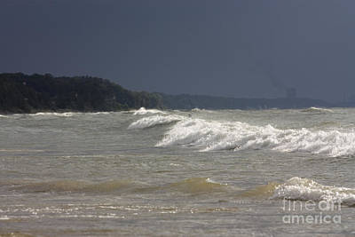 Harbor Photograph - Large Swells Rolling Towards Lake Michigan Beach by Christopher Purcell