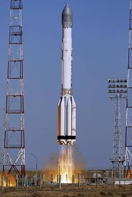 Launch Of Proton-k Rocket Print by Ria Novosti