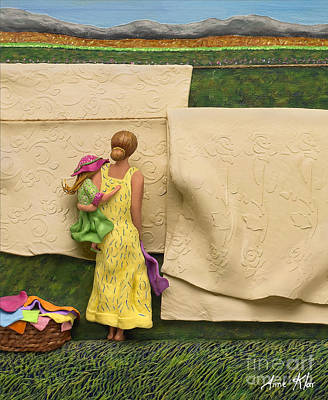 Little Girl Mixed Media - Laundry - Crop Of Original - To See Complete Artwork Click View All by Anne Klar