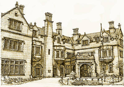 Laurel Hall In Sepia Print by Building  Art