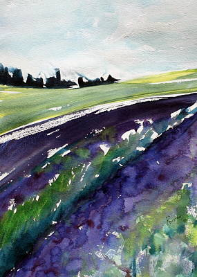 Abstract Painting - Lavender Fields  by Rachel Dutton