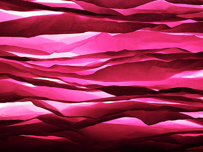 Layered Sheets Of Crumpled Pink Paper. Print by Ballyscanlon