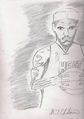 Miami Heat Drawing - LBJ by Michael Chatman