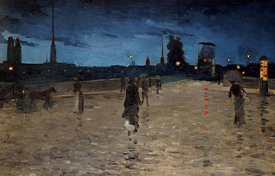 Horse Drawn Carriage Painting - Le Pont De Pierre by Charles Angrand