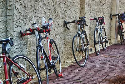 Leaning Bikes Print by Michael Thomas