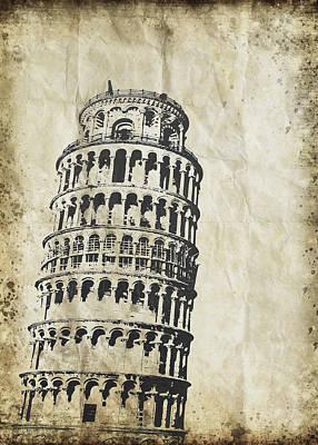 Leaning Tower Of Pisa On Old Paper Print by Setsiri Silapasuwanchai
