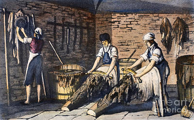 Washtub Photograph - Leather Manufacture, 1800 by Granger