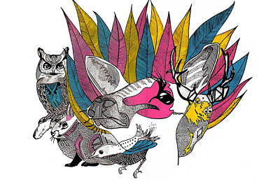 Leaves And Animals Print by JF Mondello