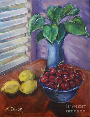 Leaves Cherries And Lemons Original by Ginger Dixon