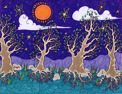 Joyful Drawing - Leaves Under Night Sky by James Davidson