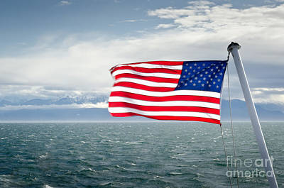 Leaving The Olympics Stars And Stripes On The Straits From The Olympic Mountains Print by Andy Smy