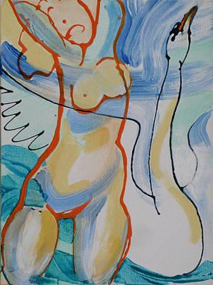 Leda And The Swan - Joy Original by Michael Cunliffe Thompson