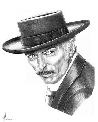 Famous People Drawing - Lee Van Cleef by Murphy Elliott