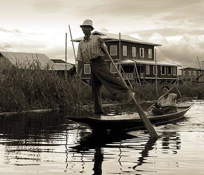 Leg Rowing On Inle Lake Print by RicardMN Photography