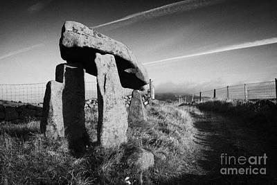 Megalith Photograph - Legananny Dolmen Portal Tomb Ancient Historic Monument Beside Farmers Laneway County Down Ireland by Joe Fox