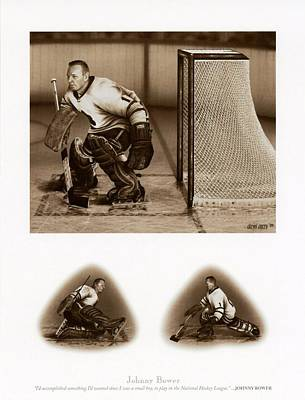 Art Of Hockey Mixed Media - Legends Series Johnny Bower 12x15 by Daniel Parry