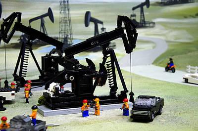 Lego Oil Pumpjacks Print by Ricky Barnard