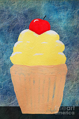 Lemon Cupcake With A Cherry On Top Print by Andee Design