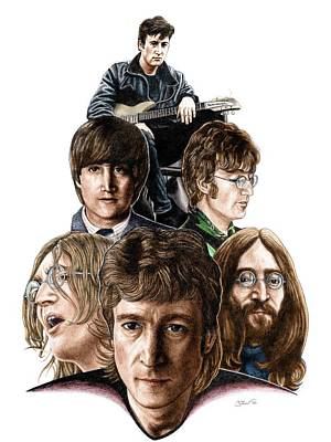 John Lennon Drawing - Lennon - The Mind Of The Matter by Jonathan W Brown