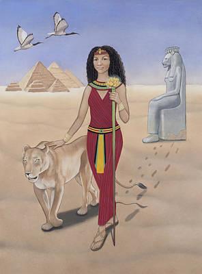 Goddess Mythology Painting - Leo / Sekhmet by Karen MacKenzie