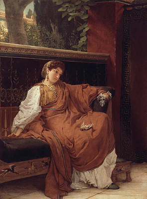 Lesbia Weeping Over A Sparrow Print by Sir Lawrence Alma-Tadema
