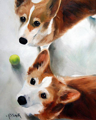 Corgi Painting - Let's Play Please by Mary Sparrow