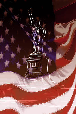 Usa Flag Mixed Media - Liberty For All by Stefan Kuhn