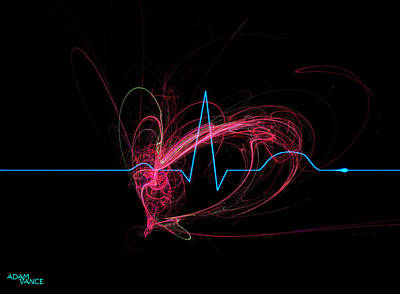 Abstract Hearts Drawing - Life Signs by Adam Vance