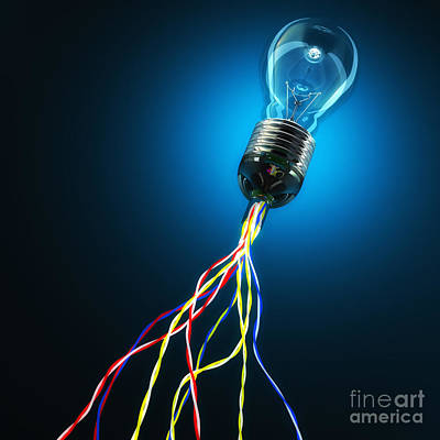 Light Bulb Photograph - Light Global Connection by Gualtiero Boffi