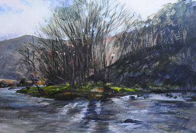 Painting - Light Through Trees At Aberglaslyn. by Harry Robertson