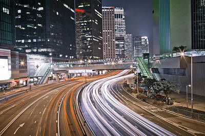 Light Trails On Road Print by Andi Andreas