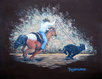 Roping Horse Painting - Lightening Fast by Tanja Ware