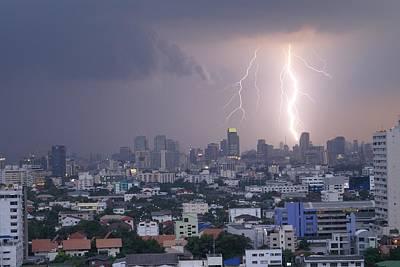 Lightening Strikes Bangkok Print by Gregory Smith