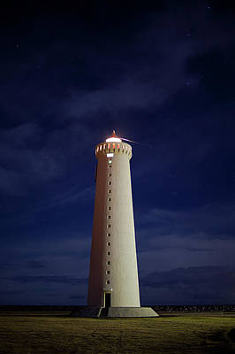 Built Structure Photograph - Lighthouse Against Sky With Stars by Bkort photography
