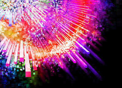 Abstract Movement Digital Art - Lighting Explode by Setsiri Silapasuwanchai