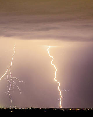 Lighning Photograph - Lightning Bolt With A Fork by James BO  Insogna