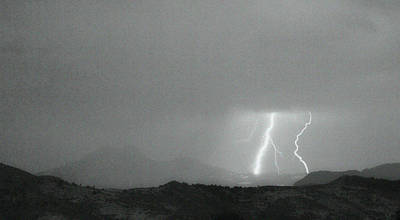Lightning Bolts Hitting The Continental Divide Bw Crop Print by James BO  Insogna