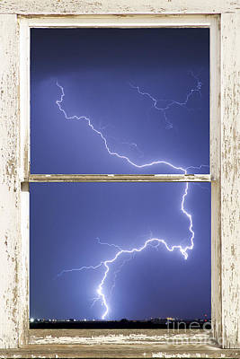 Lightning Strike White Barn Picture Window Frame Photo Art  Print by James BO  Insogna
