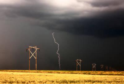 Lightning Striking Behind Saskatchewan Power Line Print by Mark Duffy