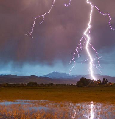 Weather Photograph - Lightning Striking Longs Peak Foothills 5 Crop by James BO  Insogna