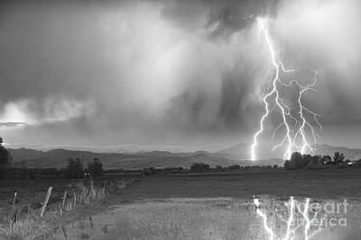 Lightning Striking Longs Peak Foothills 6bw Print by James BO  Insogna