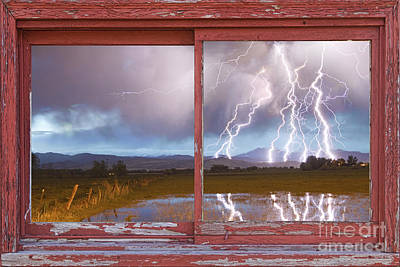 Lightning Striking Longs Peak Red Rustic Picture Window Frame Print by James BO  Insogna