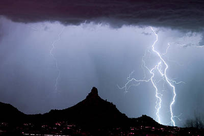 Lightning Thunderstorm At Pinnacle Peak Print by James BO  Insogna