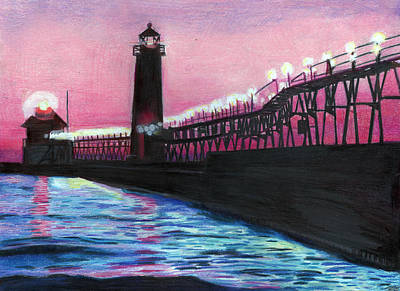 Lake Michigan Drawing - Lights by Ian Tullock