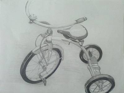 Tricycle Drawing - Lil Bike by Bradley   Howell