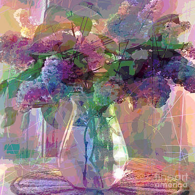Glass Vase Painting - Lilac Cuttings Glass Vase by David Lloyd Glover